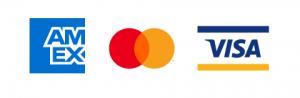 Amex, Mastercard & Visa logos